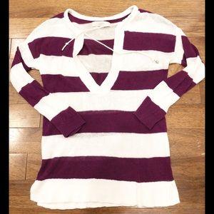 LOFT Purple and White Striped Light Sweater
